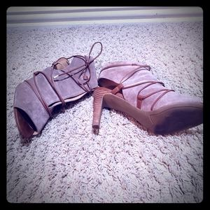 Taupe Suede tie heel out sandals